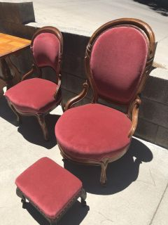 Two Antique Matching Velvet Parlor Chairs and Footstool Excellent Condition