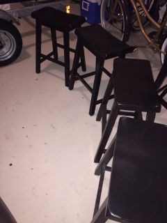Brown wooden bar stools