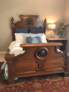 Antique bedroom suite with double bed, night stand,and dresser