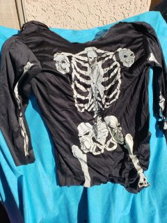 Halloween costume skeleton with blood pumping chest