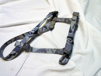 Blue Camo Medium Dog Harness Adjustable Leash Car Ride Safety Pet Walk