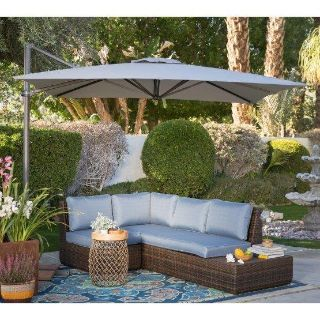 Coral Coast 8.5 Ft. Square Offset Patio Umbrella and Umbrella Weights (Actual Color NOT Shown)