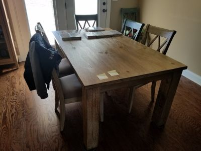 Ashley dining table & antique chairs