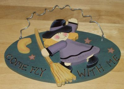 Come Fly With Me Witch w/ Broom - Hanging Wall Plaque Wood Sign - Fall Autumn D cor