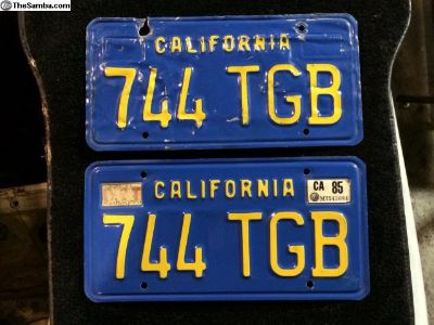 1970-1980 Blue California license plates for YOM