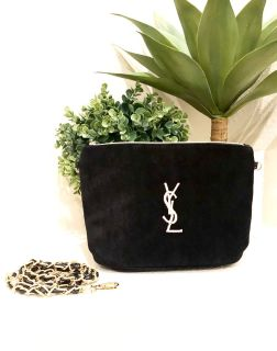 YSL Black Velvet Makeup Bag/Crossbody