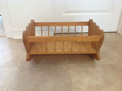 Oak doll cradle