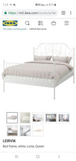 Leirvik queen size bed frame and slats