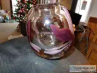 Hand Blown Vase wflower in glass