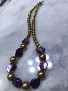 Beautiful purple and gold beaded necklace