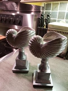 pair pretty faux shell candleholders