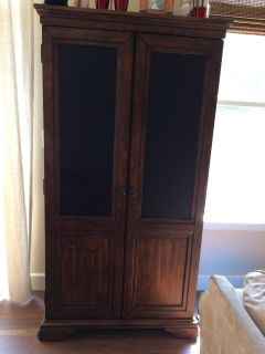 Kitchen Cabinet with Chalkboard Doors and Cubbies