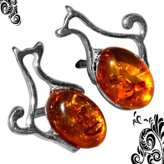 New - Dainty Dog Authentic Baltic Amber Stud Earrings - 925 Sterling Silver