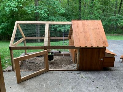 Chicken coop built by my husband it is 8 feet by 4 feet