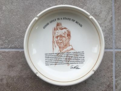 """Vintage ARNOLD PALMER Golf Collectible ASHTRAY """"Good Golf Is A State Of Mind"""""""