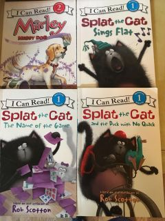 4 I Can Read books Splat the Cat & Marley $6 for all or $2 each