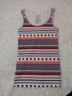 Faded Glory Red White Blue Patriarchal Tank Top M/L