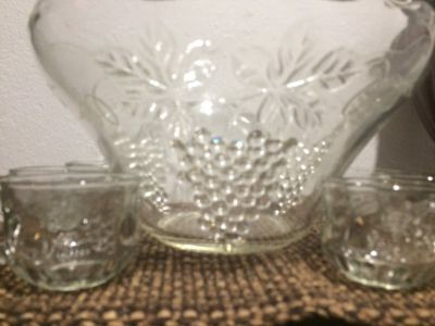 Vintage Glass Punch Bowl Set Anchor Hocking Grape
