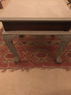 End table with claw legs. Chalk painted legs and top grey. All wood. Beautiful details.