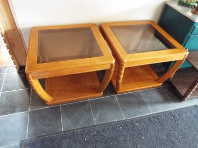 Table*Pair*End/Coffee*Bevel Tint Glass*Heavy Duty