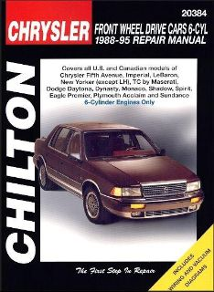 Purchase Chrysler, Dodge, Eagle, Plymouth Repair Manual FWD 6-Cylinder Cars 1988-1995 motorcycle in Garland, Texas, US, for US $23.95