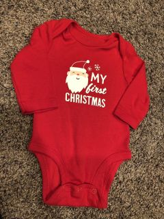Santa - Christmas Red My First Christmas Long Sleeve Onesie Shirt. Like New Condition. Size 3 Months