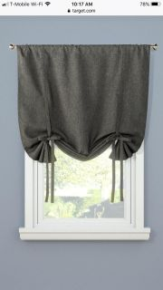 3 tie up curtains, heather gray. Each measure 42 x63 . NWOT, never used. Price is for all 3