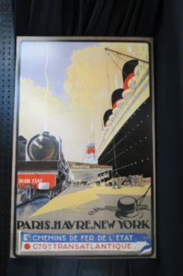 Vintage Art Deco style Paris to NY travel print