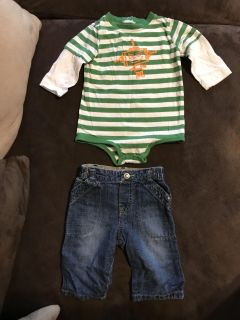 Boys Long Sleeve Onesie & Jeans Size 6-9months
