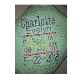 Custom Baby Birth Statistics/Birth Announcement Baby Quilt (Blanket) To see more designs visit: www.sewcutebabyquilts.us