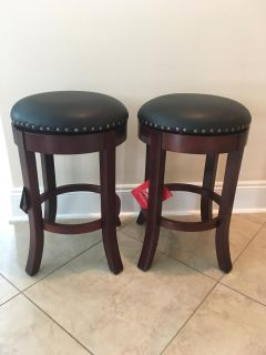 """New Set of Two 24"""" Swivel Counter Height Stools with Upholstered Seat"""