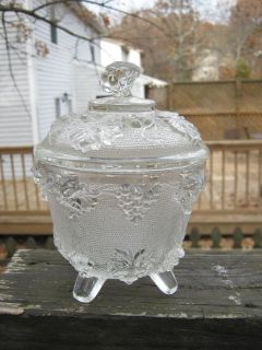 Vintage Glass Covered Candy Dish, Footed, Grape Design, 6 1/2 Inches Tall No chips, no cracks