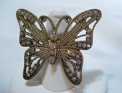 Antiqued gold tone butterfly faux diamond ring size 7.5 statement crystal gem
