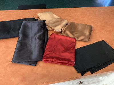 Collection of black long table cloth & material used as table cloths- decor. Brazoria home pickup.