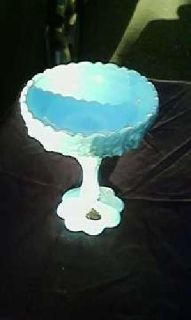 Blue Fenton Glass Compote (Beautiful)