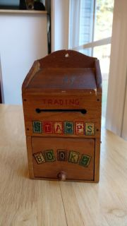 """Vintage wood 1950's/1960's Nevco trading stamps and book box measures 7 1/2"""" tall, 4 1/8"""" wide and 3 3/8"""" deep"""