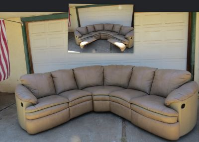 Leather Sectional Couch w/ Recliners