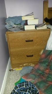 Faux Wood Side Table  Drawers (Uptown)