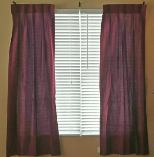 "J.C. PENNEY ""HOME COLLECTION"" CURTAINS w/HARDWARE (2 sets / burgundy): $15 one set / $28 both sets"
