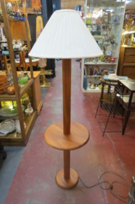 Vintage Mid century solid teak table floor lamp