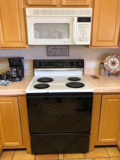 Electric range and microwave/vent hood