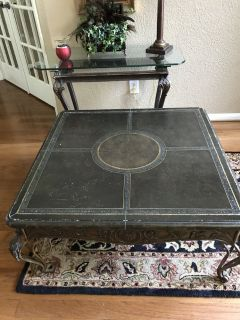 "Leather Cover / Iron Coffee Table (38"" X 38"")"