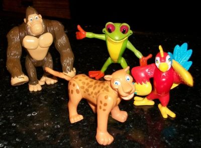 Rainforest Cafe Animal Action Figures Lot Gorilla Frog Jaguar Parrot Toys