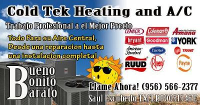 Coldtek AC Air Conditioning Service Call Saul  956 566-2377