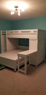 Twin Over Full Bunk Bed with Chest and Desk