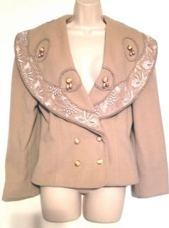 CASHMERE BLEND DRESS JACKET WITH LACE AND FAUX PEARLS
