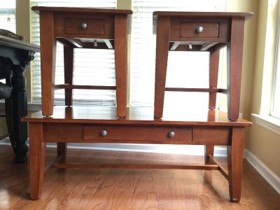 World Market coffee table and 2 end tables