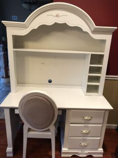 White desk with hutch and chair