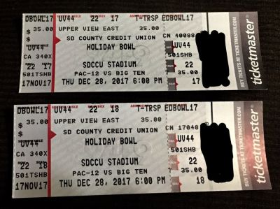 Holiday bowl tickets (2 for $40)