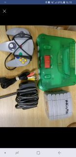 Original Green Nintendo 64 + 6 games